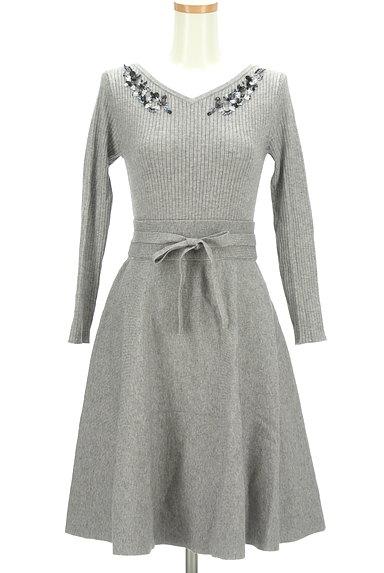 LAISSE PASSE(レッセパッセ)の古着「ビーズ刺繍入りニットフレアワンピース(ワンピース・チュニック)」大画像1へ