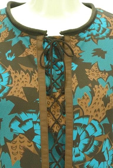 HIROKO KOSHINO(ヒロココシノ)の古着「袖リブ花柄×レオパード柄膝丈ワンピ(ワンピース・チュニック)」大画像4へ