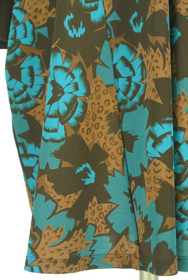 HIROKO KOSHINO(ヒロココシノ)の古着「袖リブ花柄×レオパード柄膝丈ワンピ(ワンピース・チュニック)」大画像5へ