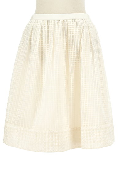 KUMIKYOKU(組曲)の古着「膝丈チェック柄刺繍シアースカート(スカート)」大画像1へ