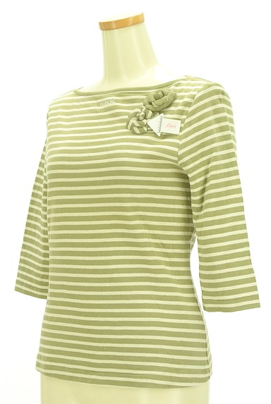 INGEBORG(インゲボルグ)の古着「花ブローチ付七分袖ボーダーカットソー(カットソー・プルオーバー)」大画像4へ