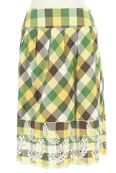 KATHARINE ROSS(キャサリンロス)の古着「ペイズリー刺繍のチェックスカート(スカート)」大画像1へ
