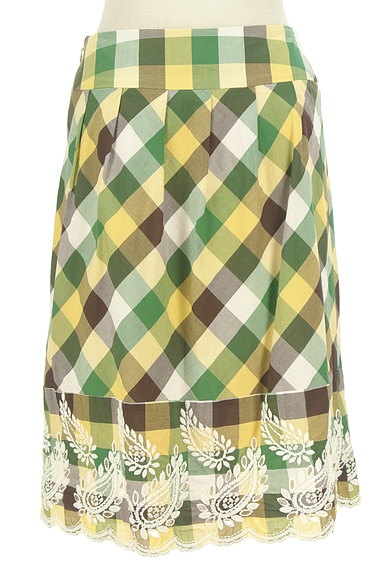 KATHARINE ROSS(キャサリンロス)の古着「ペイズリー刺繍のチェックスカート(スカート)」大画像2へ
