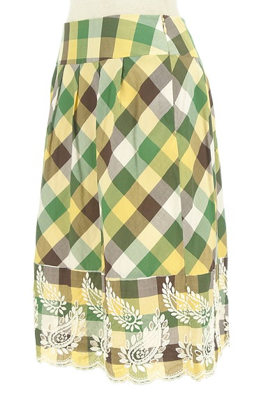 KATHARINE ROSS(キャサリンロス)の古着「ペイズリー刺繍のチェックスカート(スカート)」大画像3へ