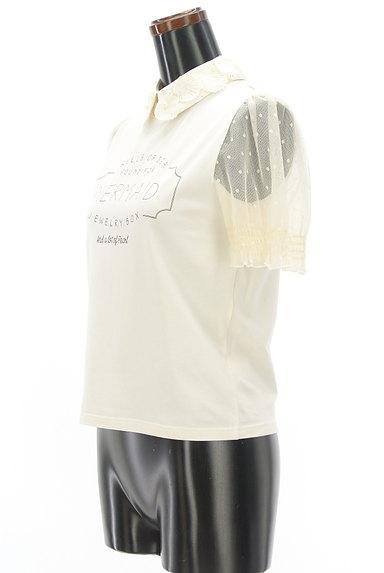 LIZ LISA(リズリサ)の古着「パール付き貝刺繍襟ロゴカットソー(カットソー・プルオーバー)」大画像3へ