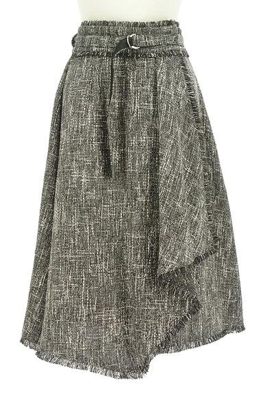 Fabulous Angela(ファビュラスアンジェラ)の古着「ベルト付フリンジフリルツイードスカート(ロングスカート・マキシスカート)」大画像1へ