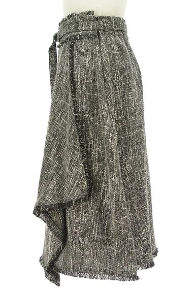 Fabulous Angela(ファビュラスアンジェラ)の古着「ベルト付フリンジフリルツイードスカート(ロングスカート・マキシスカート)」大画像3へ