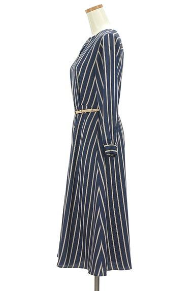 STRAWBERRY-FIELDS(ストロベリーフィールズ)の古着「ストライプ柄微光沢ミモレ丈ワンピ(ワンピース・チュニック)」大画像3へ