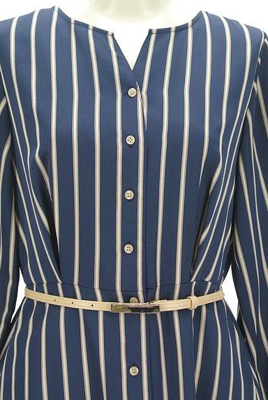 STRAWBERRY-FIELDS(ストロベリーフィールズ)の古着「ストライプ柄微光沢ミモレ丈ワンピ(ワンピース・チュニック)」大画像4へ