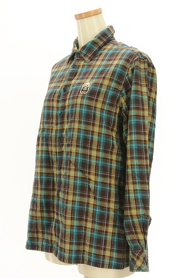 drug store's(ドラッグストアーズ)の古着「刺繍ロゴチェック柄シャツ(カジュアルシャツ)」大画像3へ