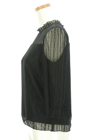 LAISSE PASSE(レッセパッセ)の古着「シャーリングハイネックレースプルオーバー(カットソー・プルオーバー)」大画像3へ