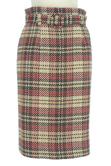 MISCH MASCH(ミッシュマッシュ)の古着「ベルト付きチェック柄膝下丈起毛タイトスカート(スカート)」大画像1へ
