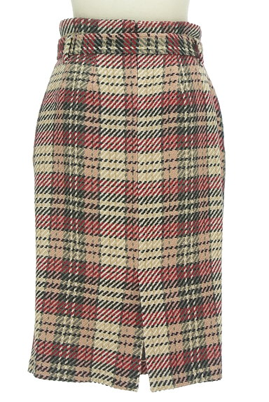 MISCH MASCH(ミッシュマッシュ)の古着「ベルト付きチェック柄膝下丈起毛タイトスカート(スカート)」大画像2へ