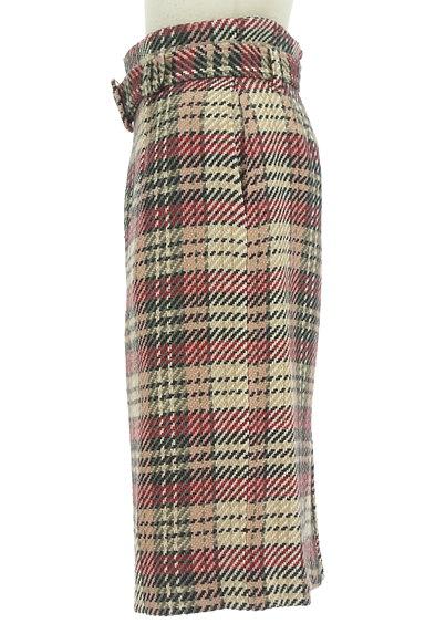 MISCH MASCH(ミッシュマッシュ)の古着「ベルト付きチェック柄膝下丈起毛タイトスカート(スカート)」大画像3へ