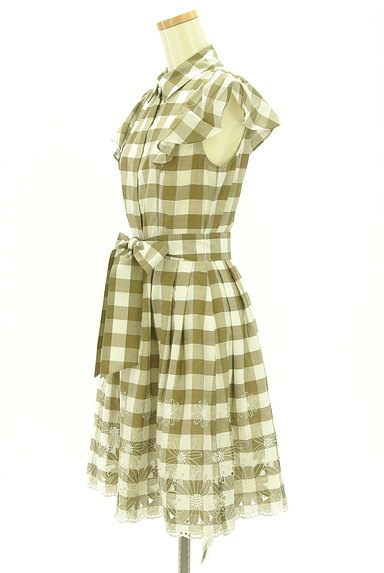 LAISSE PASSE(レッセパッセ)の古着「ウエストリボン膝丈刺繍チェック柄ワンピ(ワンピース・チュニック)」大画像3へ