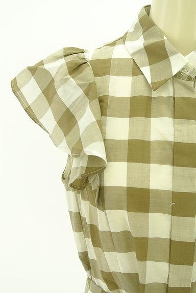 LAISSE PASSE(レッセパッセ)の古着「ウエストリボン膝丈刺繍チェック柄ワンピ(ワンピース・チュニック)」大画像4へ