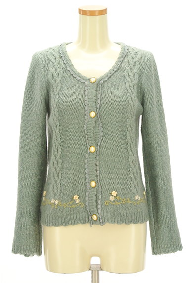 axes femme(アクシーズファム)の古着「刺繍入りケーブル編みカーディガン(カーディガン・ボレロ)」大画像1へ