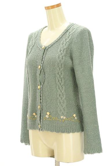axes femme(アクシーズファム)の古着「刺繍入りケーブル編みカーディガン(カーディガン・ボレロ)」大画像3へ