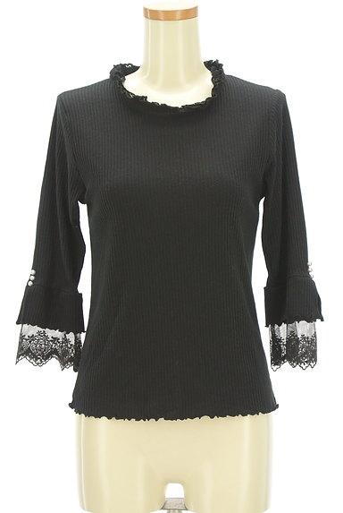 axes femme(アクシーズファム)の古着「袖口刺繍レース七分袖リブニット(ニット)」大画像1へ