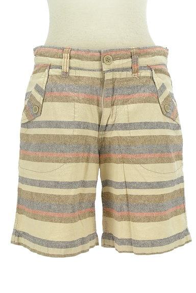 CUBE SUGAR(キューブシュガー)の古着「くすみボーダーショートパンツ(ショートパンツ・ハーフパンツ)」大画像1へ
