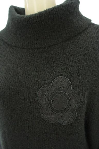 MARY QUANT(マリークワント)の古着「レース花モチーフタートルネックニットワンピ(ワンピース・チュニック)」大画像4へ