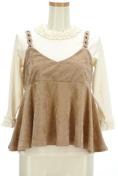 axes femme(アクシーズファム)の古着「ベロアキャミ付きフリル七分袖リブニット(アンサンブル)」大画像1へ