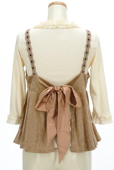 axes femme(アクシーズファム)の古着「ベロアキャミ付きフリル七分袖リブニット(アンサンブル)」大画像2へ