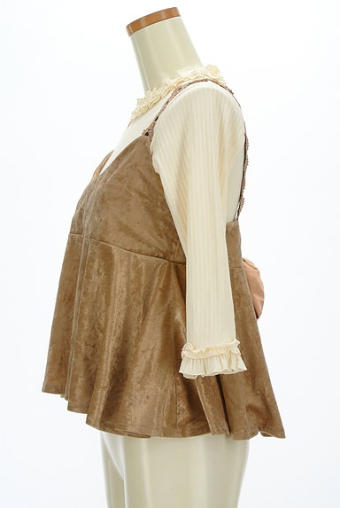 axes femme(アクシーズファム)の古着「ベロアキャミ付きフリル七分袖リブニット(アンサンブル)」大画像3へ