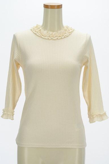 axes femme(アクシーズファム)の古着「ベロアキャミ付きフリル七分袖リブニット(アンサンブル)」大画像4へ