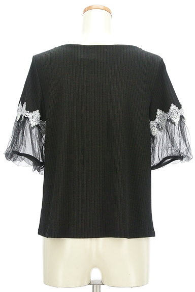 axes femme(アクシーズファム)の古着「ふんわりチュール袖リブカットソー(カットソー・プルオーバー)」大画像2へ