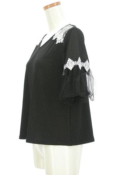 axes femme(アクシーズファム)の古着「ふんわりチュール袖リブカットソー(カットソー・プルオーバー)」大画像3へ