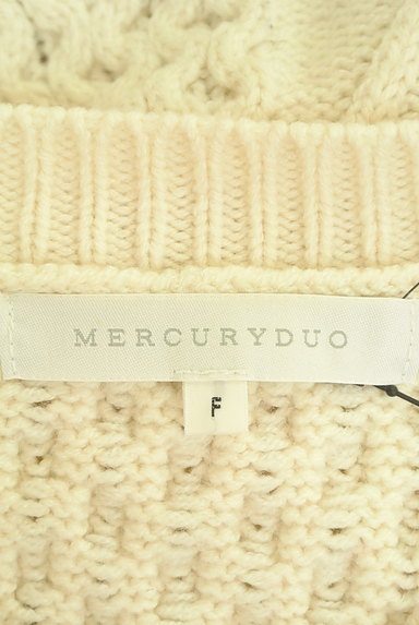 MERCURYDUO(マーキュリーデュオ)の古着「レースドッキングスリットケーブルニットワンピ(ワンピース・チュニック)」大画像6へ