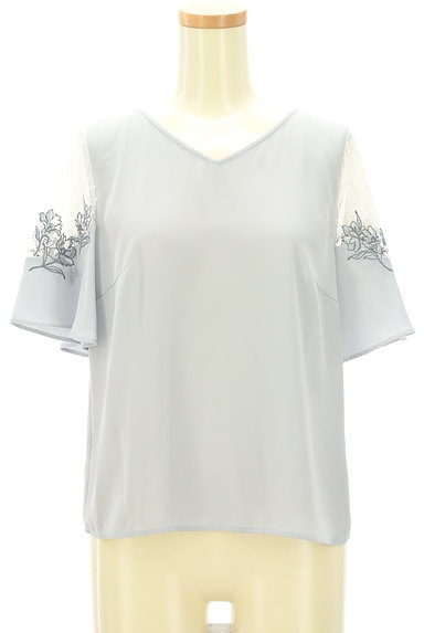 JILL by JILLSTUART(ジルバイジルスチュアート)の古着「花刺繍入りシアーブラウス(カットソー・プルオーバー)」大画像1へ