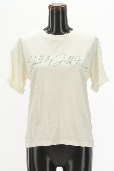 JILL by JILLSTUART(ジルバイジルスチュアート)の古着「ロールアップロゴプリントTシャツ(Tシャツ)」大画像1へ