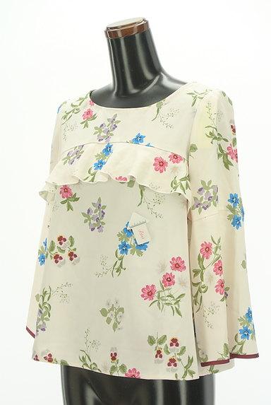 Couture Brooch(クチュールブローチ)の古着「微光沢花柄フリルカットソー(カットソー・プルオーバー)」大画像4へ