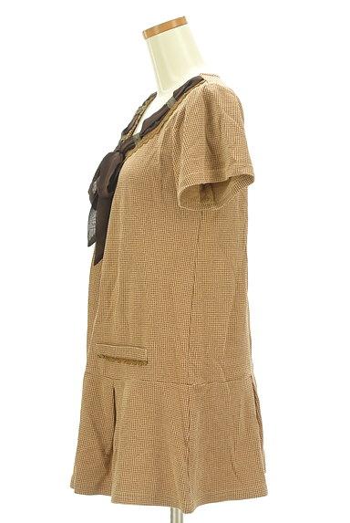 axes femme(アクシーズファム)の古着「シフォンリボンチェック柄フレアチュニック(ワンピース・チュニック)」大画像3へ