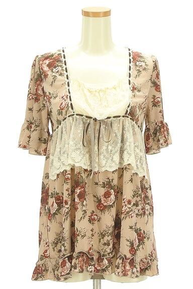 axes femme(アクシーズファム)の古着「花柄フリルレースプルオーバー(カットソー・プルオーバー)」大画像1へ
