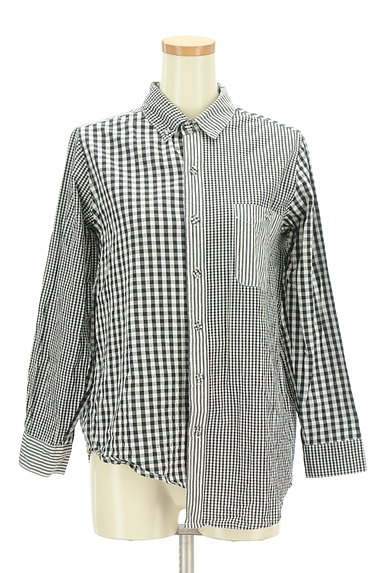 antiqua(アンティカ)の古着「アシンメトリーチェック柄シャツ(カジュアルシャツ)」大画像1へ