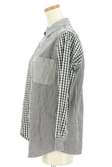 antiqua(アンティカ)の古着「アシンメトリーチェック柄シャツ(カジュアルシャツ)」大画像3へ