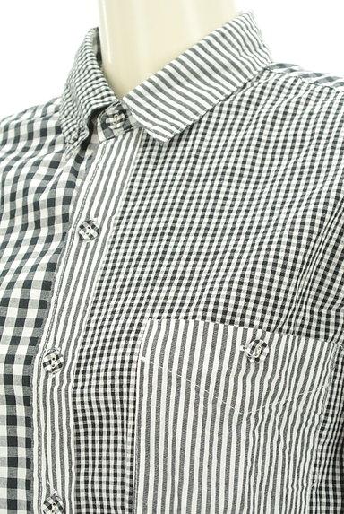 antiqua(アンティカ)の古着「アシンメトリーチェック柄シャツ(カジュアルシャツ)」大画像4へ